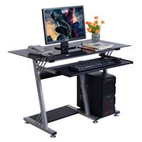 Wholesale Glass Top Modern Computer Desk Table Office Furniture Keyboard Shelf New