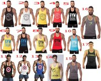 Wholesale Newest colors printting Gym Stringer Tank Top Men Gymshark Bodybuilding and Fitness Men s Singlets GYM Tank Shirts Sports Tank Top