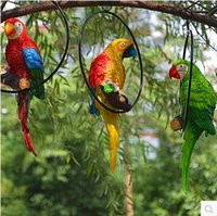 Wholesale Simulated parrot decorative arts and crafts bird sculpture Christmas and garden decoration creative resin crafts