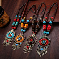 amber resin beads - Tibetan Ethnic wind Tassels Necklace and Pendants Handmade Imitate Beeswax Turquoise Tibetan Silver Amber Wooden Beads Sweater Chain