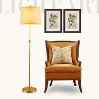 Wholesale 110V V Floor Lamps Round Modern Simple Style LED Floor Light Copper material Linen Lampshade Sitting Room Lamp Sofa Edge Beside Lamps