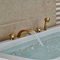 bath filler taps - NEW Widespread Golden Brass Waterfall Bathtub Faucet Bath Tub Filler Mixer Taps Deck Mount Handshower