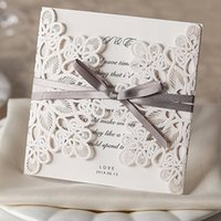 Wholesale 2015 New Wedding Invitations Laser Cut Customizable Hollow Crystal Lace Bow Ribbon Wedding Invitation Cards Supplies Printable Cards W002