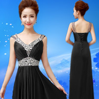Wholesale New Sexy Evening Gowns Long Dress A Line White Grey Blue Black Red Green Pink purple Long Formal Party Dress
