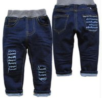 Wholesale baby jeans trousers casual jeans spring and autumn baby boys straight solid Blue not fade baby