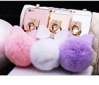 battery rabbit - 2016 Silver Luxury Metal Rope Mirror TPU Tassel phone Capa fake rabbit fur ball For iPhone7 plus S plus S SE Back Cover Case