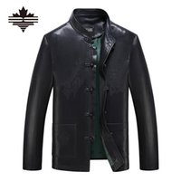 Wholesale Fall Tang Suit Mens Leather Jacket Middle Aged And Old Casual Black Jackets Twist Button Faux Leather Coats Outerwear M XL