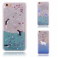apple penguin - hot sale cell phone case cute Dolphin Penguin polar bear sea flow sand glittering pc hard crystal case iphone plus