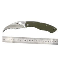 Wholesale Custom Spyderco C12GS Civilian Folding military knife VG10 Serrated Blade Green G10 handle Folding c12 knife