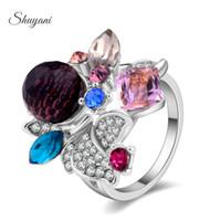 amethyst flower cluster - SHUYANI Jewelry Hot Sale Rhinestone Flower Rings For Women Fine Jewelry Citrine Amethyst Flower Rings
