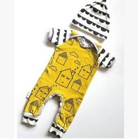 Wholesale Cartoon baby girl romper New summer House Printed Long Sleeve Cotton Toddler Onesie infant baby climb clothing