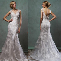 Wholesale Stella York Sexy Lace Wedding Dresses Mermaid V Neck Covered Buttons Bridal Gowns Backless
