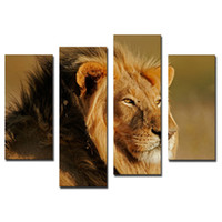big framed pictures - Amosi Art Pieces Big Male Lion Sit At Dry Grassland Wall Art Painting On Canvas Animal Pictures For Home Decor Gift with Wooden Framed