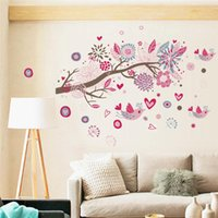 bedroom door mirror - Newest Bohemian Style Sticker Wall Sticker Birds Floral Branch PVC Removable Wall Sticker Home Decals x cm Apply to Tile Glass Doors