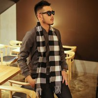 Wholesale 2016 news men chaddar warm men scarf Black and white plaid shawl factory direct sale