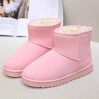 Wholesale Free Shopping New Snow Boots Half Boots Plush Round Toes Solid Silp on Flat Shoes