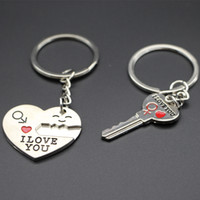 Wholesale Sweet Honey Day Gift Heart Shape Keychain Key Shape Keychain Lover Pair Keychains Express I Love You Support Customized Logo Keychain2016
