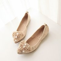 beaded eggs - Pure Color Shallow Mouth Beaded Pointed Toe Egg Roll Flat Shoes
