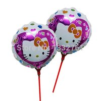 air rattle - New KT Hello Kitty balloon with stick cm inflatable air baloes for kitty party decoration mini rattle ballons
