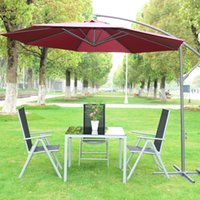 automatic patio umbrellas - 10 Patio Sun Shade Hanging Umbrella Offset Canopy Outdoor Market Base Red