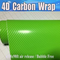 apple roofing - Apple Green D Carbon Fiber Vinyl Like realistic Carbon Fibre Film For Car Wrap With Air Bubble Free covering skin Size x30m x98ft