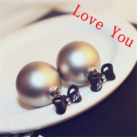 big bow knot earring - Hot Sale Double Sided Earrings for Women Big Pearl and Bow knot Stud Earrings Jewelry Fashion Accessories