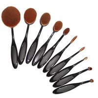 Wholesale 10 Professional Soft beauty Toothbrush Makeup Brush Sets Foundation Brushes Cream Contour Powder Blush Lip Concealer Oval Brushes