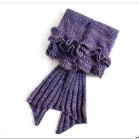 Wholesale Fashion Handmade Knitted Mermaid Tail Blanket Super Soft Warmer Blanket Kids Bed Sleeping Costume Air condition Knit Blanket