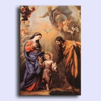 angels madonnas - Hand painted modern wall art home decorative abstract oil painting on canvas Holy Family Madonna with Christ angels bird x36inch Unframed