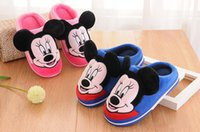Wholesale 2017new Children Cartoon cotton winter slippers pantoufle enfant kid house mickey shoes boys girls household shoes warm micky slipper