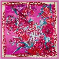 Cheap Women tulip floral satin 2016 newest large square silk scarves 90cm*90cm