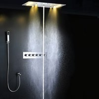 Wholesale multi function mm rainfall waterfall mist fall and water column bathroom recessed ceiling rainfall shower set with led