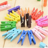 Wholesale 300pcs Random Mini Colored Spring Wood Clips Clothes Photo Paper Peg Pin Clothespin Craft Clips Party Decoration