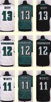 Wholesale 2016 New Men s Josh Huff Randall Cunningham Carson Wentz Black White Green Elite jerseys Top Quality Drop SHipping