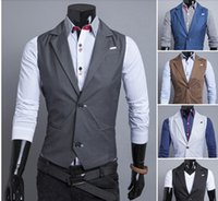 Wholesale Fashion New Korean fall dress vests for men suit vest delicate buckle collar design clothing two handsome men vest casual men hot sell