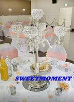 Wholesale Wedding Centerpiece Table Centerpiece Crytsl Candle Holder H76 Silver Colour