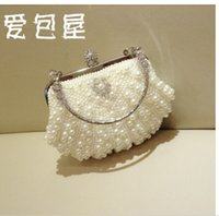 Wholesale 2016 White Ivory Pearls Bridal Hand Bags Evening Clutches Purses Crystal Women Wedding Accessories Elegant Party Prom Handbags Minaudiere