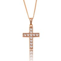 Wholesale Religion Cross Pendant Rose Gold Color Jewelry Pendant Xuping Brand Hot Sell Cublic Zirconia Copper Jewelry Pendant