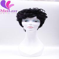 afro wholesale hair wigs - 6A Grade New Stylish Brazilian Uprocessed Full Wig Ladys Hair Wigs Short Human Virgin Hair Wigs Machine Made Wigs Wavy B Black