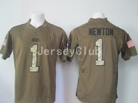 america cam - Cheap Newest Panthers Cam Newton Salute To Service Stitched Army Green Embroidery Logos Men s America Football Jerseys Uniforms
