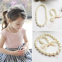 baby pearl necklace bracelet - mixed batch children girls jewelry accessories exaggerated big baby pearl necklace bracelet sets
