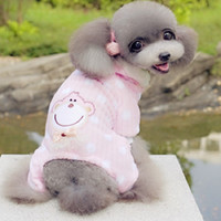 baby monkey halloween costume - Brand new Pet Fashion series QZ129 Dog baby tetrapod clothes monkey pattern Christmas clothes winter autumn colors pink yellow