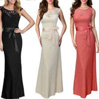 Wholesale Black White Sexy Lady long lace evening Gown dress with sheer illusion Sleeveless backless Maxi Dress formal prom party wedding gown