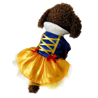 Wholesale Party Princess Cosplay Dog Clothing Pet ApparelsLovely Snow White Style cotton leather Warm Coat Pet Winter Dress