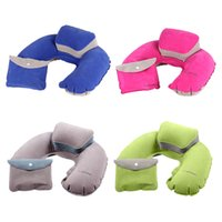 Wholesale Portable Folding Travel Air Pillow Inflatable U Shape Neck Blow Up Cushion PVC Flocking Outdoor Office Plane Hotel