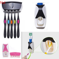 Wholesale Hot Automatic Toothpaste Dispenser Toothbrush Holder Set Wall Mount Stand Toothbrush Family Sets Wall Mount Rack Bath Set Colors SV013360