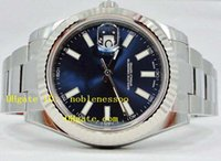 al por mayor bisel azul-Para hombre de lujo de calidad superior del reloj NUEVO AZUL II 41mm DIAL relojes automáticos de ORO BLANCO 18K Bisel acanalado 116334 hombres de lujo