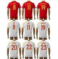 Wholesale 2016 Spain Soccer Jerseys Home Red Away Thailand Maillot de Football Shirts Koke Pedro Diego Costa S Cazorla Isco Sergio Rico