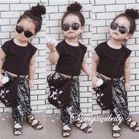 Girl zebra print - 2016 Summer INS Girls pc Sets Toddler Girl Clothes Black Tops Elephant Printed Harem Pants Two Piece Girls Summer Sets