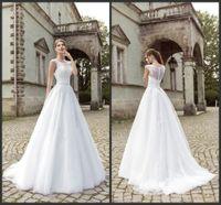 amanda free - Amanda Novias A Line Long Train High Neck Wedding Dress wedding dress